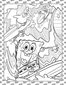 SpongeBob and Friends Having Fun Coloring Page