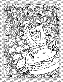 SpongeBob and Hamburger Coloring Page