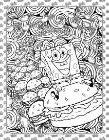 SpongeBob and Hamburger Coloring Page