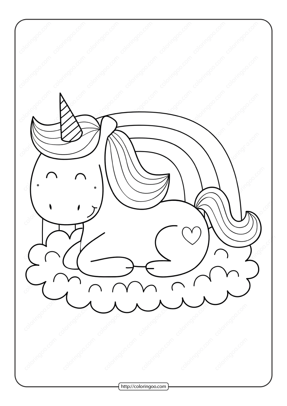 Unicorn Coloring Page 03