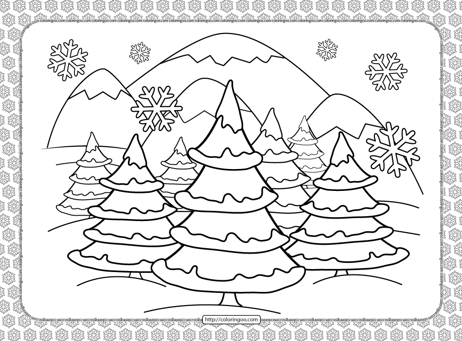 Winter Forest Landscape Coloring Page