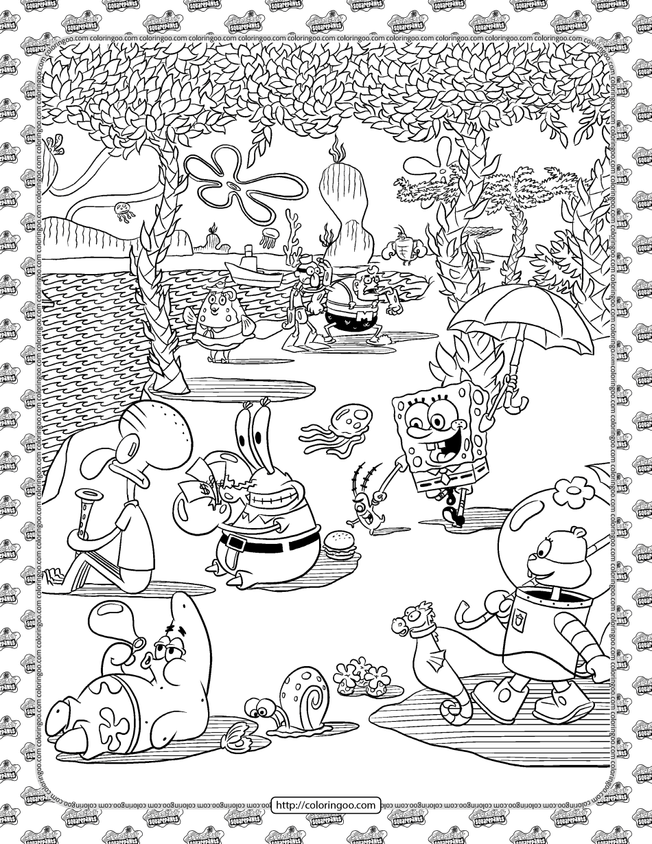World of SpongeBob Coloring Page