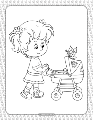 A Girl Driving a Stroller Coloring Page