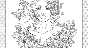 A Girl in the Butterflies Coloring Page