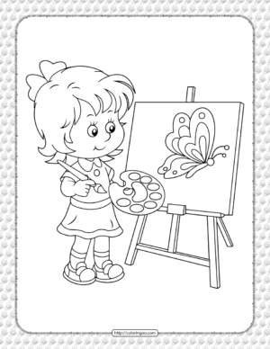 A Girl Painting Coloring Page