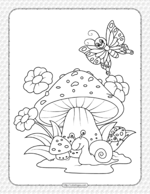 A Snail Under The Mushroom Coloring Sheet