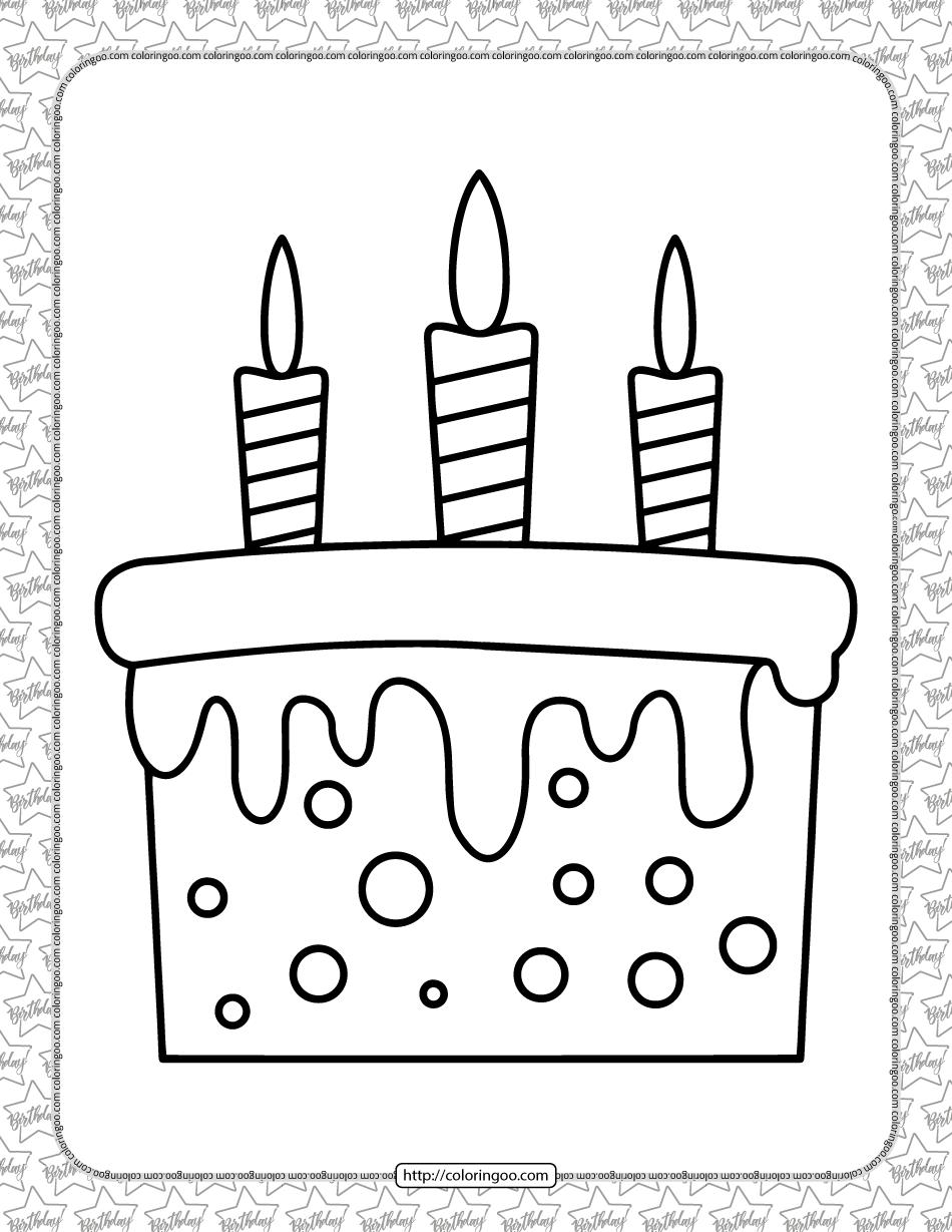 Birthday Cake Pdf Coloring Page