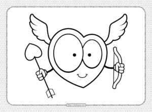 Cupid Heart Pdf Coloring Page