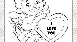 Cupid Holding a Heart Coloring Page