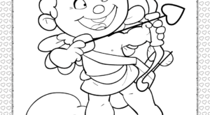 Cupid Shooting an Arrow Coloring Page