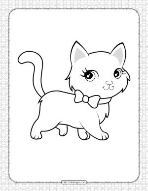 Cute Cat Pdf Coloring Pages