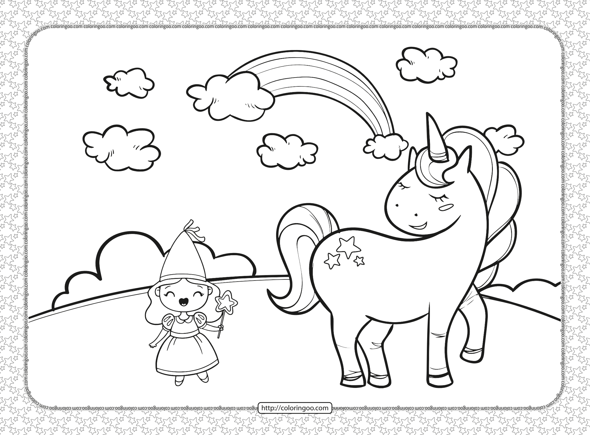 Cute Fairy Girl and Unicorn Coloring Page