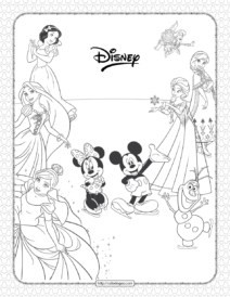 Disney Characters Pdf Coloring Sheet