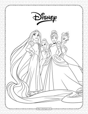Disney Princesses Pdf Coloring Page