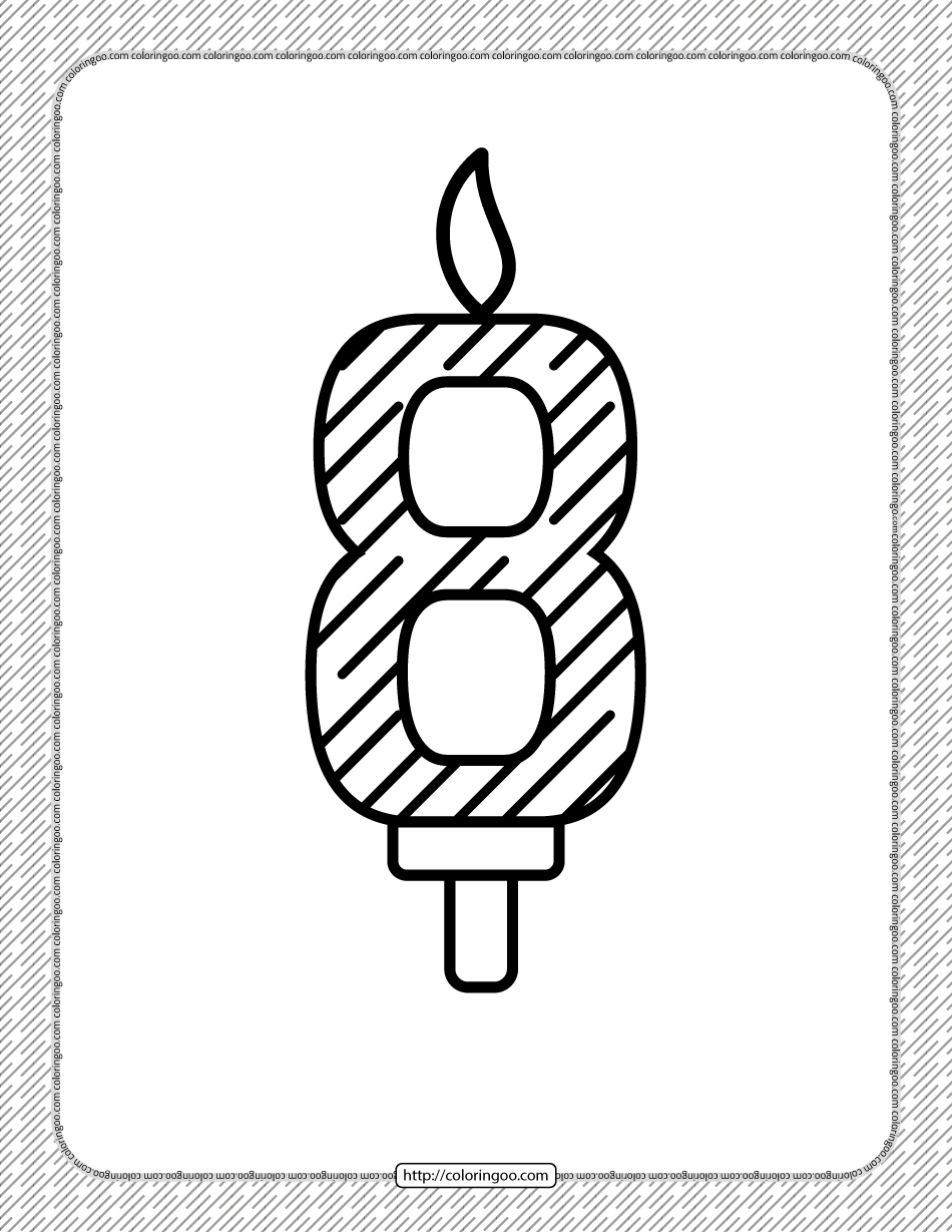 Eighth Year Birthday Candle Outline Coloring Page