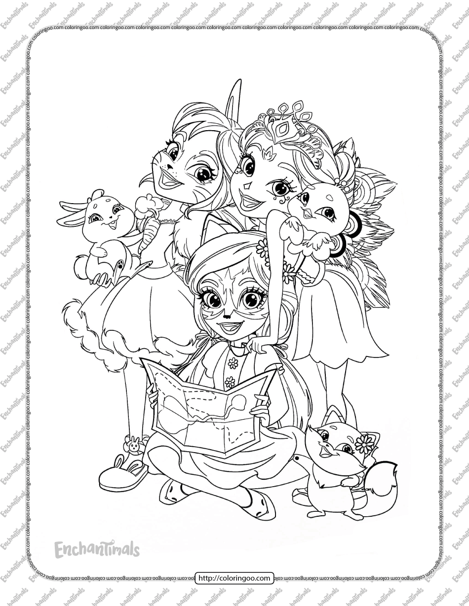 Enchantimals Characters Coloring Page