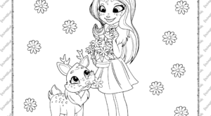 Enchantimals Danessa Deer and Sprint Coloring Page