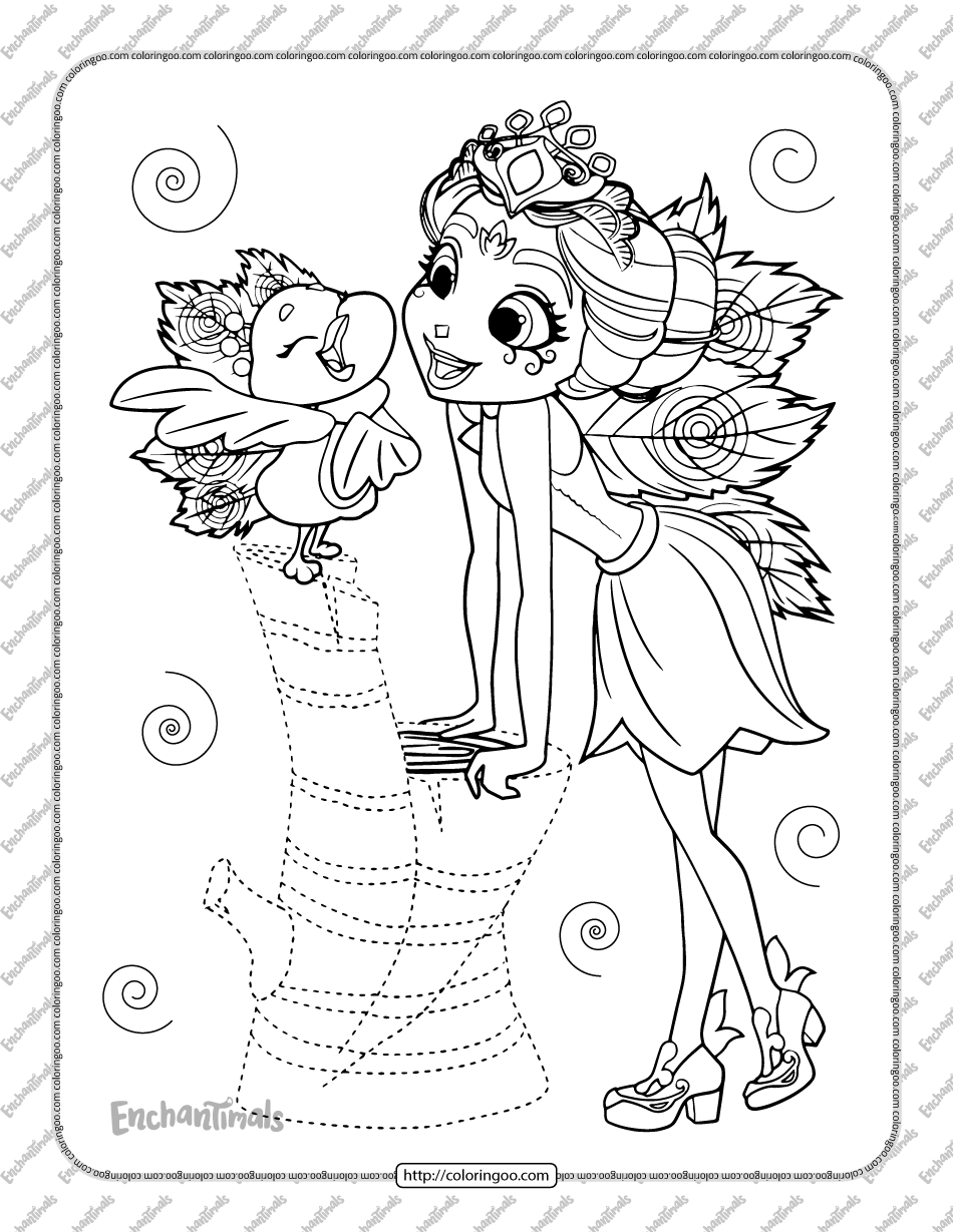Enchantimals Patter Peacock and Flap Coloring Page