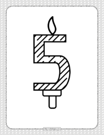Fifth Year Birthday Candle Outline Coloring Page