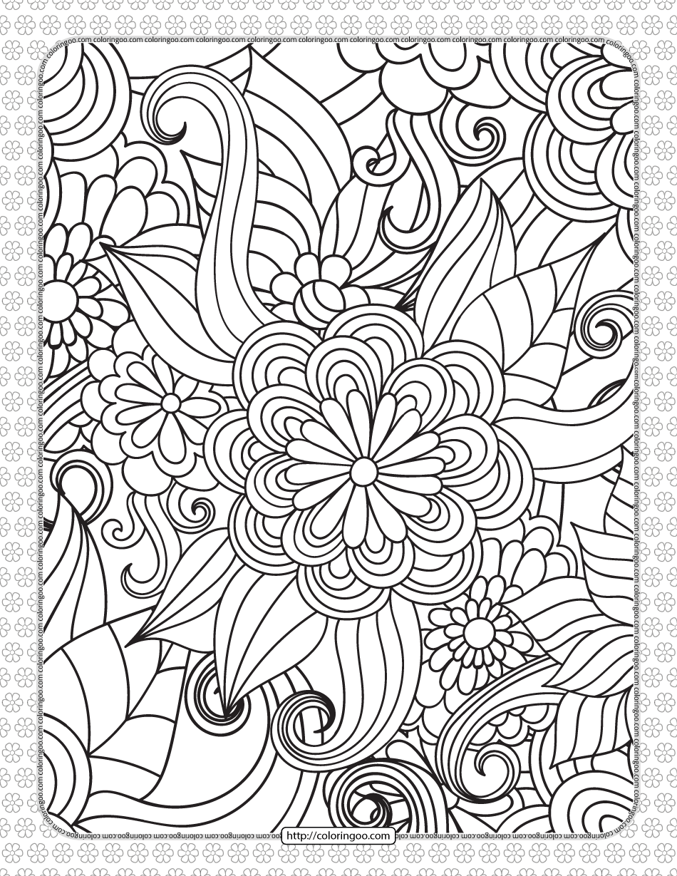 Floral Pattern Pdf Coloring Sheet