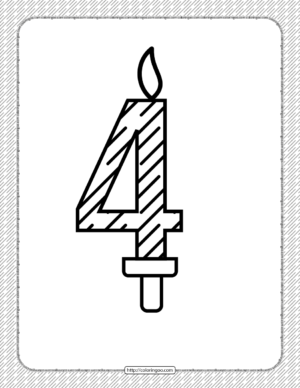 Fourth Year Birthday Candle Outline Coloring Page