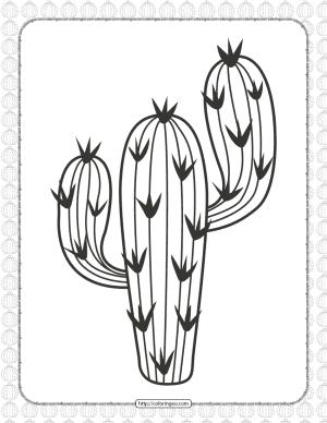 Free Printable Cactus Pdf Coloring Page