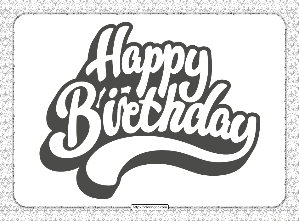 Happy Birthday Text Coloring Page