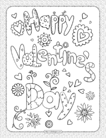 Happy Valentine's Day Pdf Coloring Page