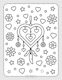 Heart Shaped Dream Catcher Coloring Page