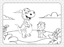 Kid in Dinosaur Costume Coloring Page