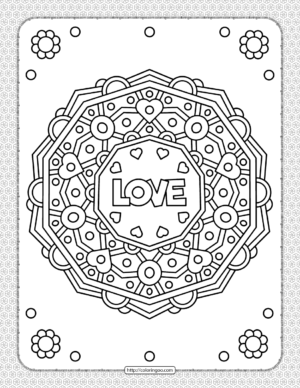 Love Wreath Pdf Coloring Sheet