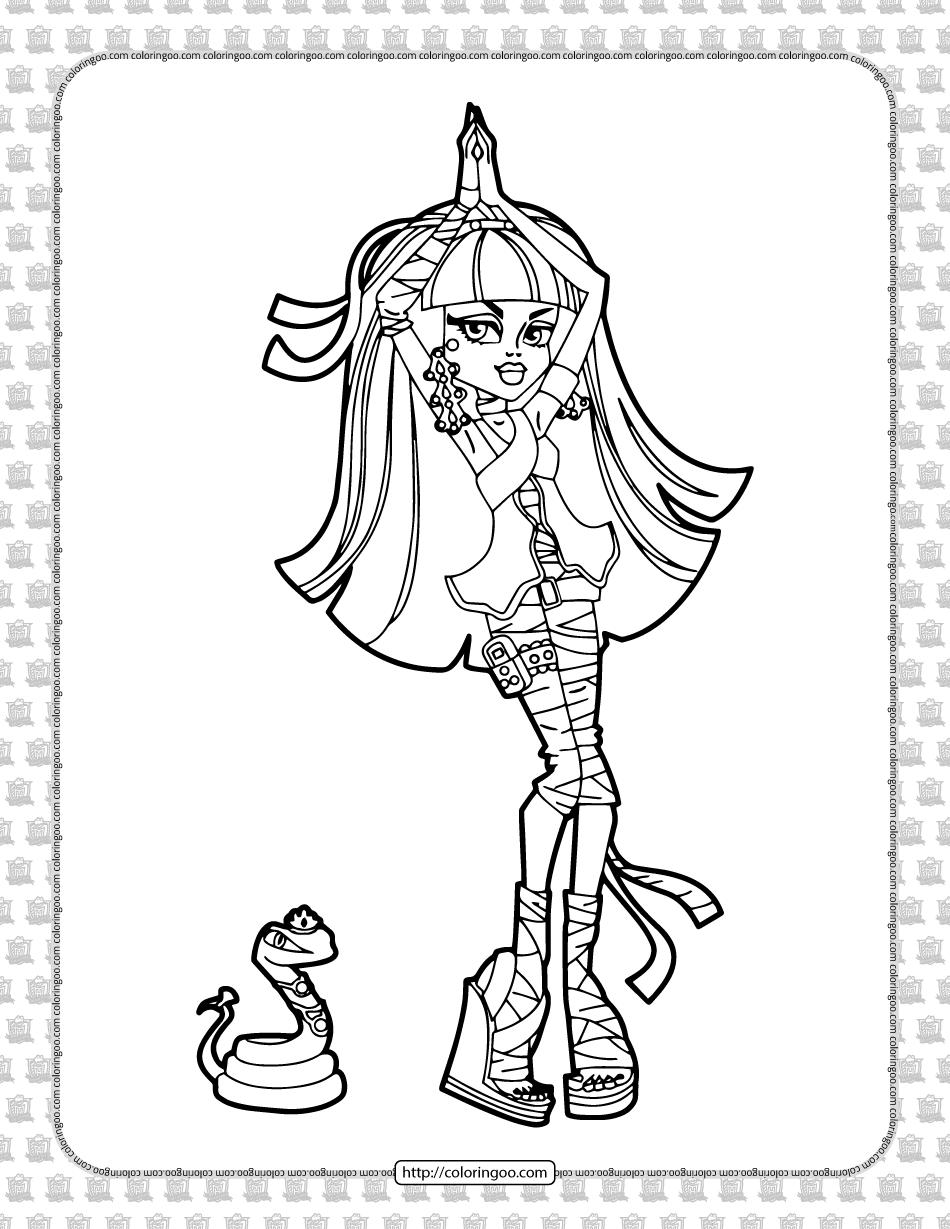 Monster High Cleo de Nile Coloring Sheet