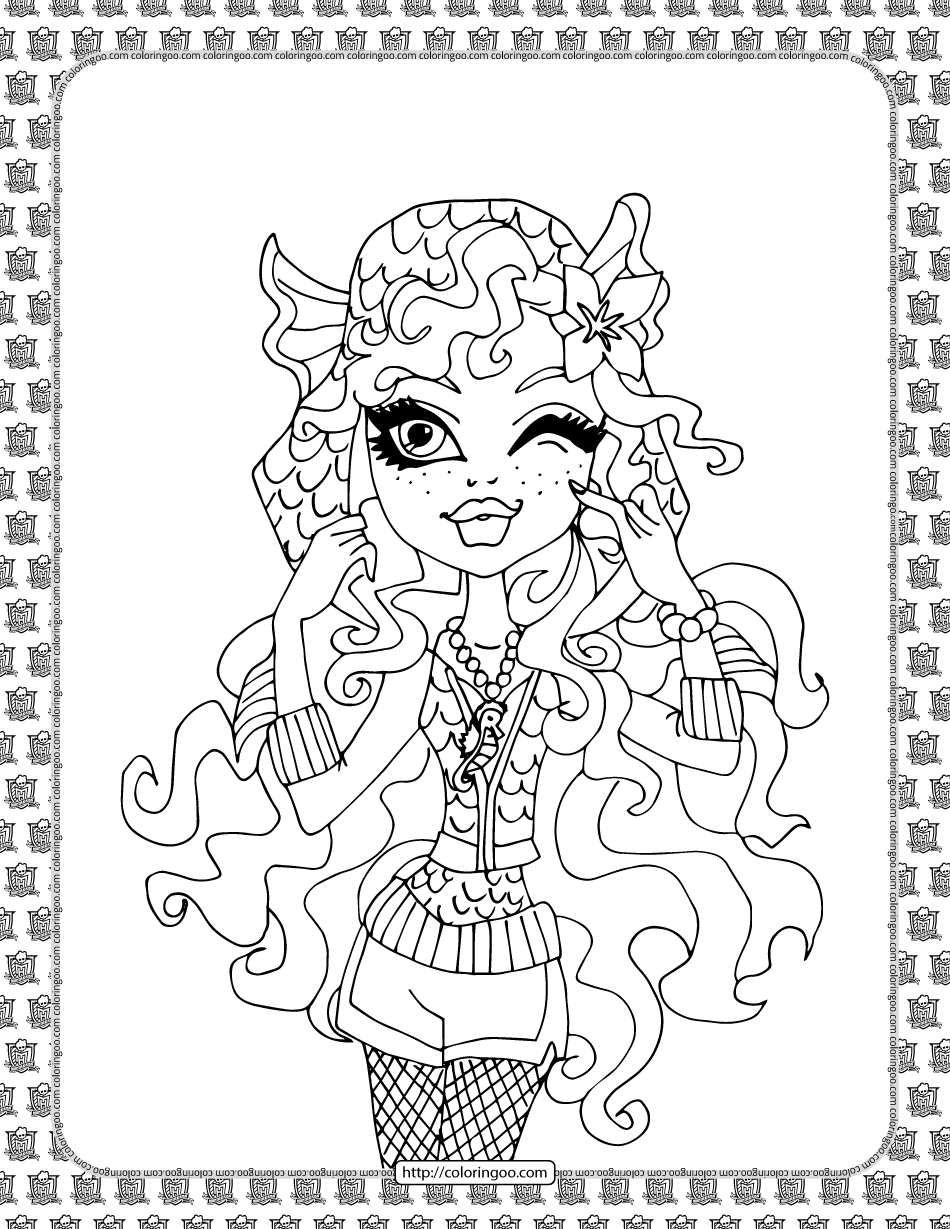 Monster High Lagoona Blue Coloring Sheet
