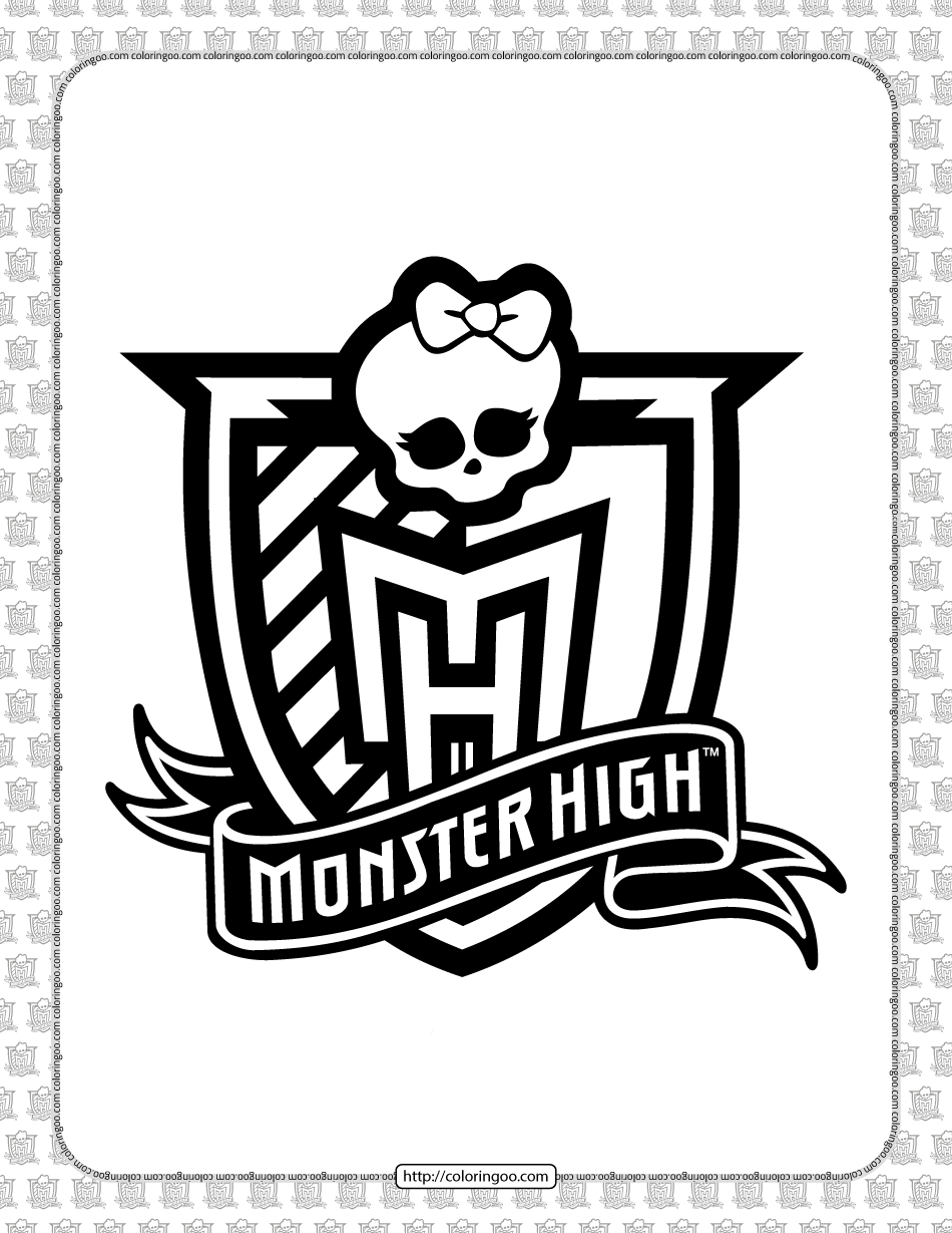 Monster High White and Black Logo Outline