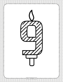 Ninth Year Birthday Candle Outline Coloring Page