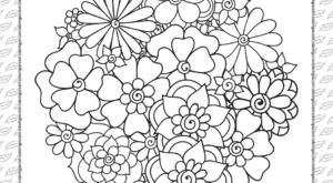 Printable Cute Flowers Coloring Page
