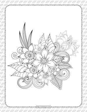 Printable Cute Flowers Coloring Sheet