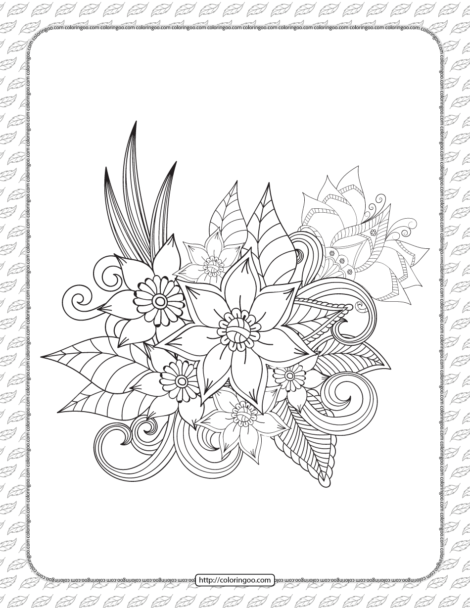 Printable Cute Flowers Coloring Sheet