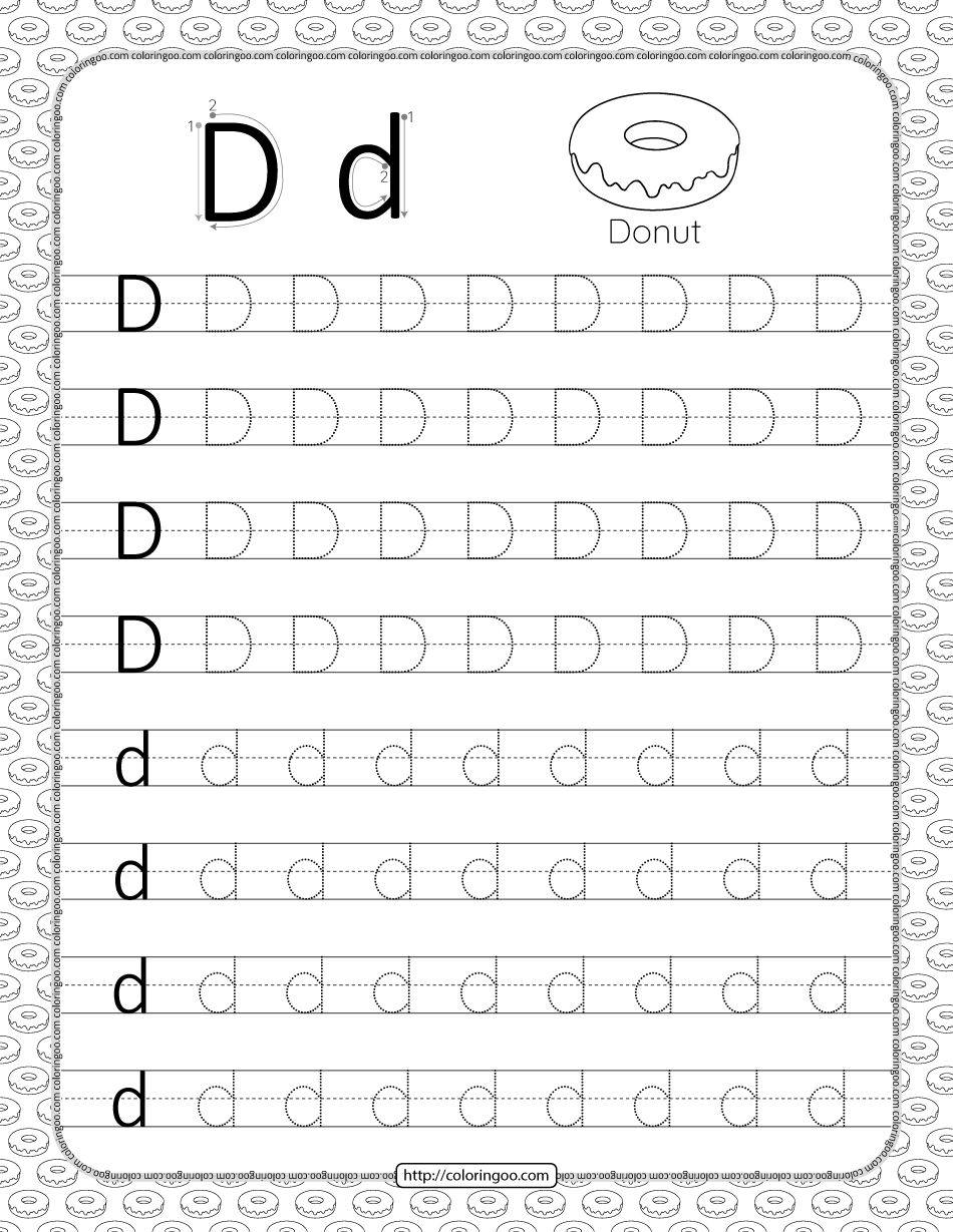 Printable Dotted Letter D Tracing Pdf Worksheet