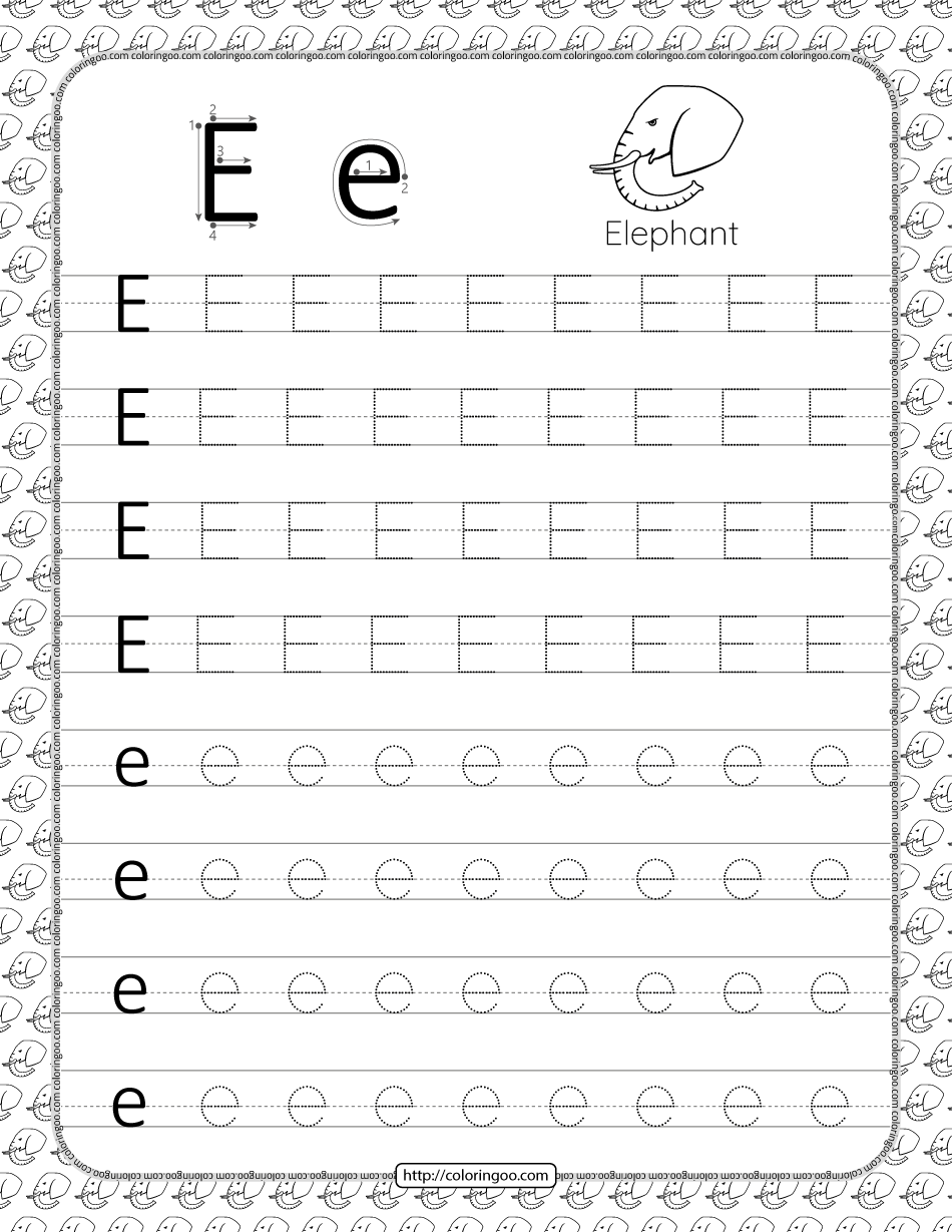 Printable Dotted Letter E Tracing Pdf Worksheet