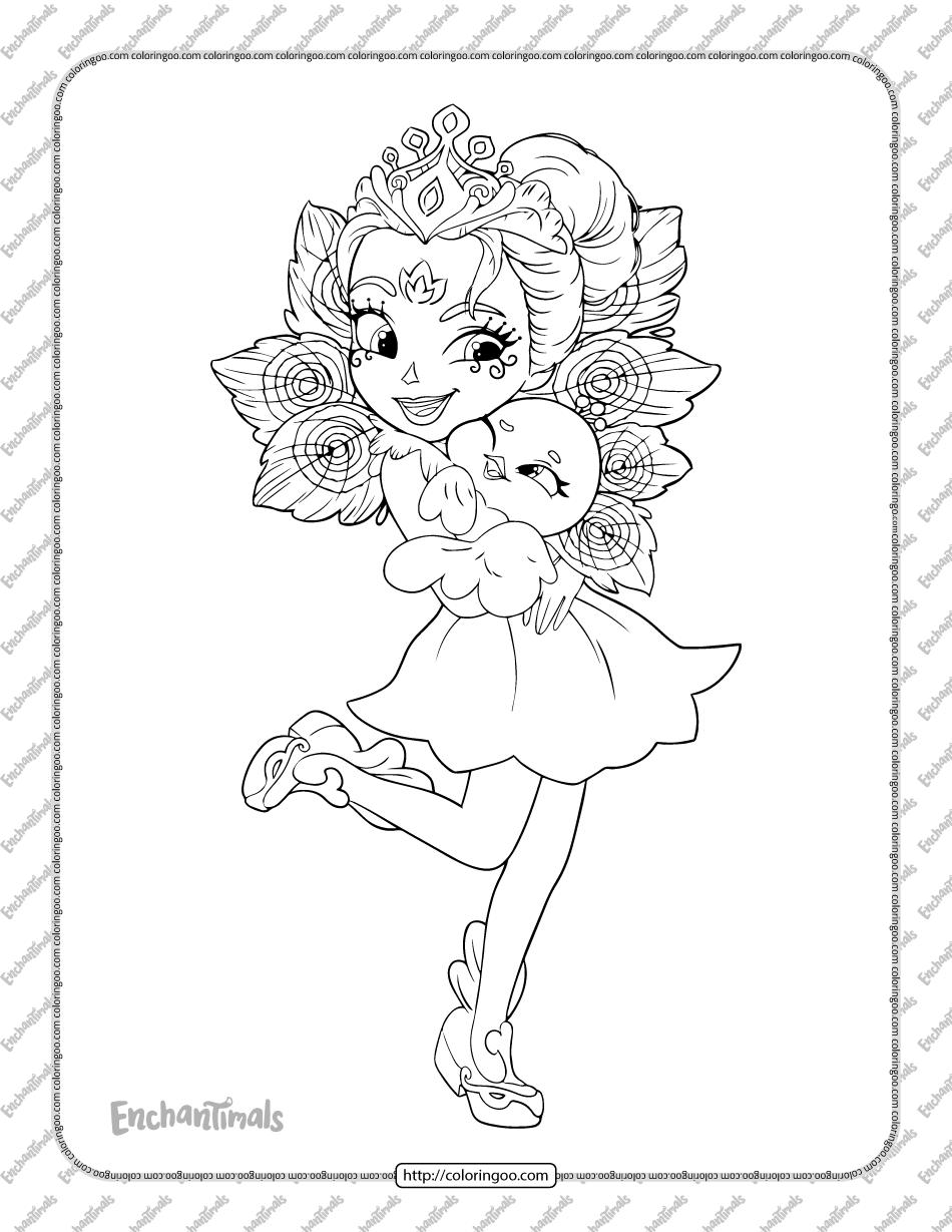 Printable Enchantimals Patter Peacock Coloring Page