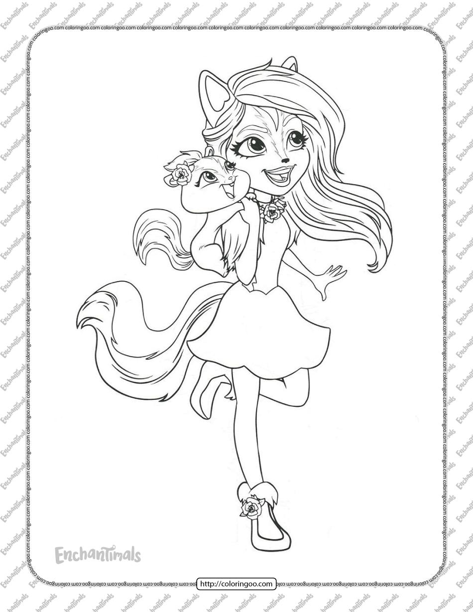 Printable Enchantimals Sage Skunk Coloring Page