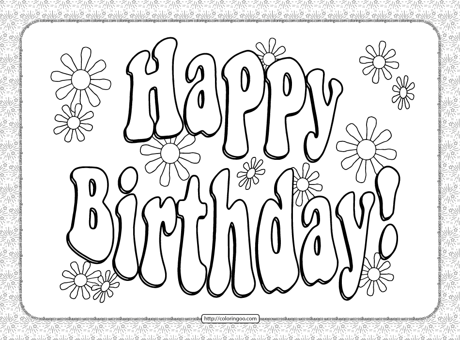 Printable Happy Birthday Text Coloring Pages