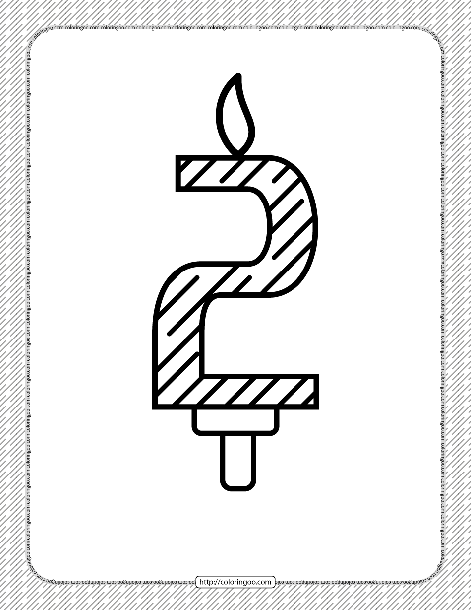 Second Year Birthday Candle Outline Coloring Page