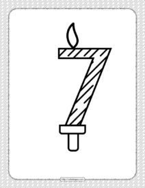 Seventh Year Birthday Candle Outline Coloring Page