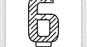 Sixth Year Birthday Candle Outline Coloring Page