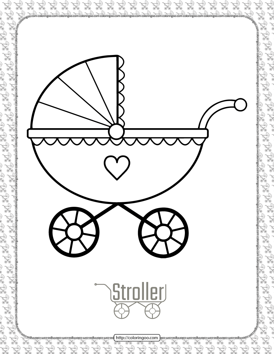 Stroller Word Worksheet and Coloring Page