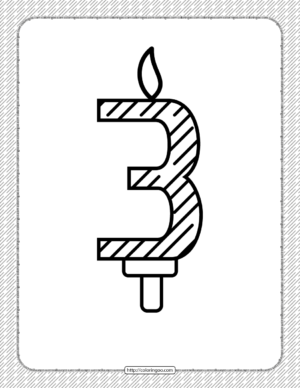 Third Year Birthday Candle Outline Coloring Page