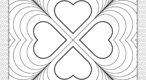 Valentine's Day Four Hearts Coloring Page