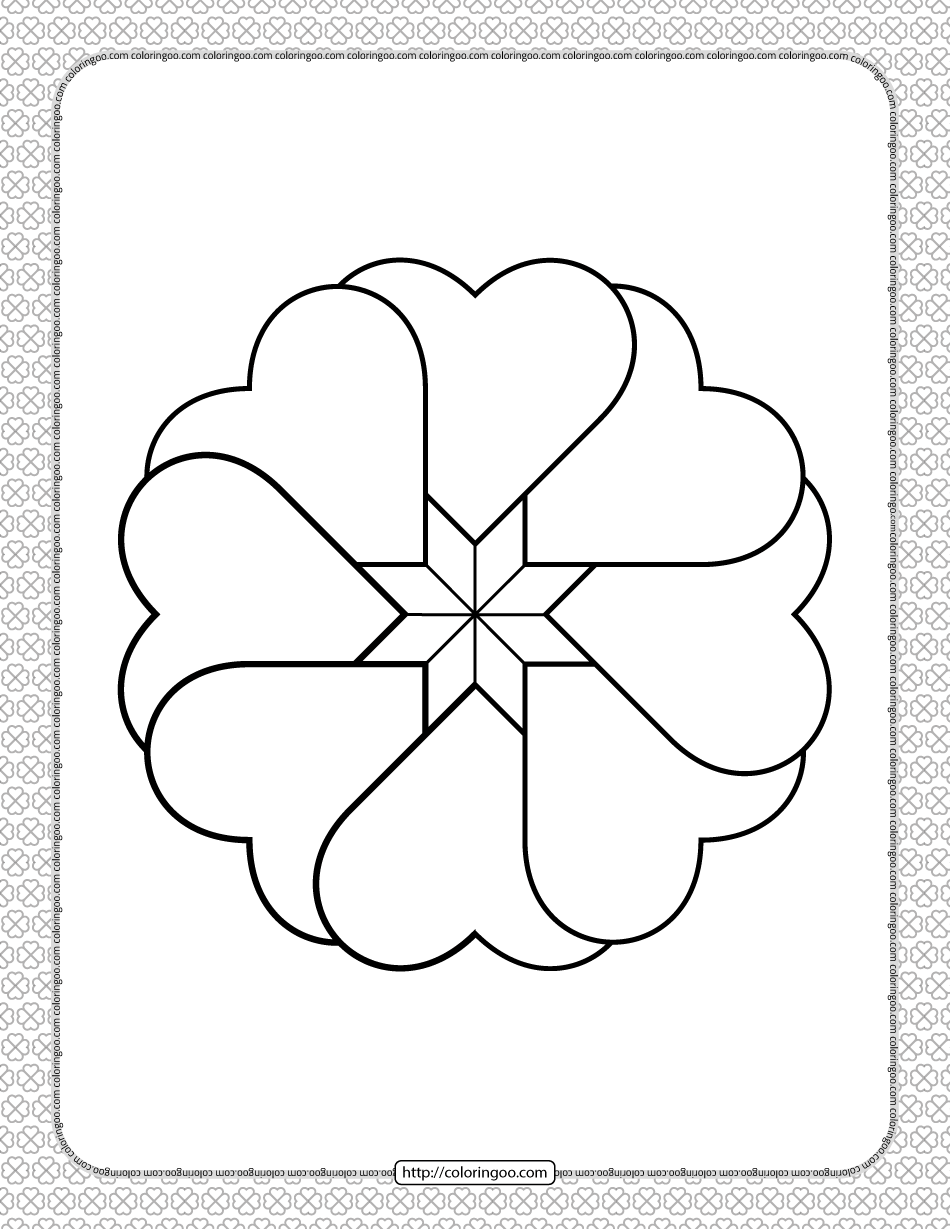 Valentine's Day Hearts Circle Coloring Page